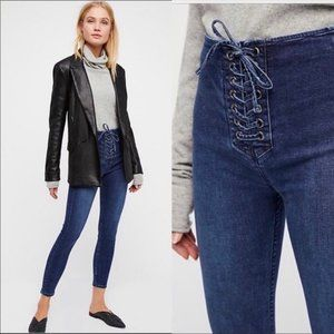Free People Lace Up Denim Jeans